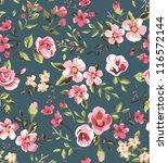 seamless vintage  pink flower... | Shutterstock .eps vector #116572144