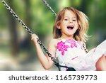 little child blond girl having... | Shutterstock . vector #1165739773