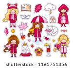 set of cute autumn stickers.... | Shutterstock .eps vector #1165751356