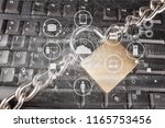 locked keyboard concept | Shutterstock . vector #1165753456
