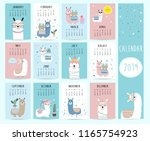 cute monthly calendar 2019 with ... | Shutterstock .eps vector #1165754923