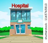 hospital front view | Shutterstock .eps vector #1165765813