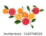 citrus fruits isolated on white ... | Shutterstock . vector #1165768210