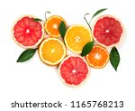 citrus fruits isolated on white ... | Shutterstock . vector #1165768213