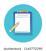 pencil and paper icon flat... | Shutterstock .eps vector #1165772290