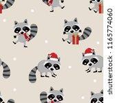 cute raccoon in christmas... | Shutterstock .eps vector #1165774060