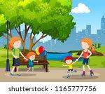 people in outdoor park... | Shutterstock .eps vector #1165777756