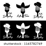 silhouettes of forks and hats... | Shutterstock .eps vector #1165782769