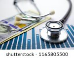 stethoscope and us dollar... | Shutterstock . vector #1165805500
