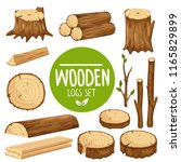 wood logs and stubs isolated on ... | Shutterstock .eps vector #1165829899
