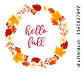autumn wreath with maple and...   Shutterstock .eps vector #1165837849