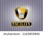 golden badge with chef hat... | Shutterstock .eps vector #1165855840