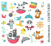 pirate icon set. vector... | Shutterstock .eps vector #1165871830