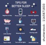 tips for better sleep icon set. ... | Shutterstock .eps vector #1165871833