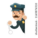 policeman with handcuffs look... | Shutterstock .eps vector #1165876510