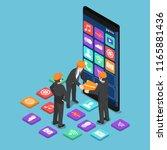 flat 3d isometric businessman... | Shutterstock .eps vector #1165881436