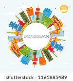 dongguan china city skyline... | Shutterstock . vector #1165885489