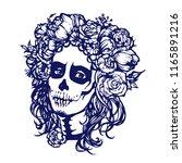 santa muerte woman make up....   Shutterstock .eps vector #1165891216