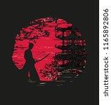 japanese samurai fighter... | Shutterstock .eps vector #1165892806