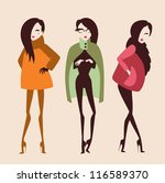 fashion girls collection vector eps 10 - stock vector