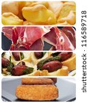 a collage of different spanish tapas, such as patatas bravas, pinchos de chorizo, jamon serrano or croquettes - stock photo