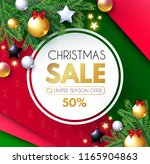 christmas sale banner. holiday... | Shutterstock .eps vector #1165904863