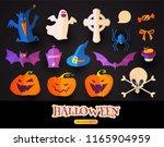 halloween cartoon elements set. ... | Shutterstock .eps vector #1165904959