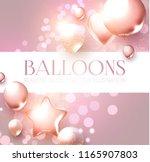 elegant pink flying balloons... | Shutterstock .eps vector #1165907803