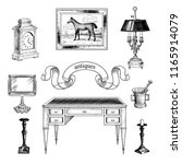 vintage collection of antiques.... | Shutterstock .eps vector #1165914079