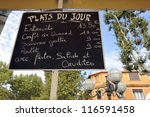 Menusign in France with the plats du jour; that nmenas the meals of the day - stock photo