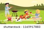 picnic painting joyful family... | Shutterstock . vector #1165917883