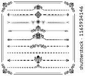vintage set of decorative... | Shutterstock . vector #1165934146