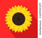 sunflower symbol icon on red... | Shutterstock . vector #1165942129