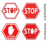 set of sign stop blocking red... | Shutterstock . vector #1165944946