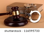 Gavel  Handcuffs And Book On...