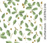 set oak branches with leaves... | Shutterstock .eps vector #1165961146