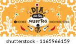 Stock vector vector hand drawn lettering dia de los muertos day of the dead poster design day of the dead 1165966159