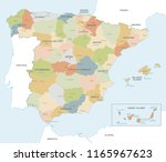 vector map of spain with... | Shutterstock .eps vector #1165967623