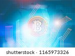 glowing bitcoin in colorful...