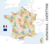 vector map of france with... | Shutterstock .eps vector #1165977436