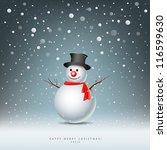 merry christmas snowman...   Shutterstock .eps vector #116599630