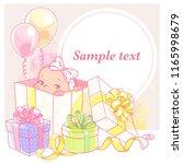 cute little baby in a gift box. ... | Shutterstock .eps vector #1165998679