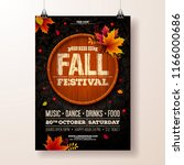 autumn party flyer illustration ... | Shutterstock .eps vector #1166000686