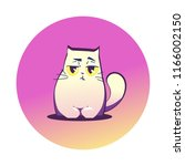 vector illustration  grumpy cat ... | Shutterstock .eps vector #1166002150