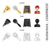 a pizza cutter  a slice  a menu ... | Shutterstock .eps vector #1166008210