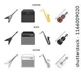 electric guitar  loudspeaker ... | Shutterstock .eps vector #1166009020