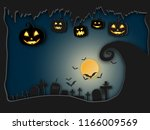 halloween background paper art... | Shutterstock .eps vector #1166009569