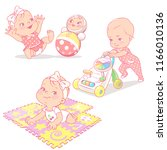 set with different toys... | Shutterstock .eps vector #1166010136