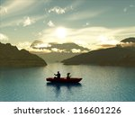 man and boy fishing in a boat | Shutterstock . vector #116601226