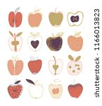 colorful collection of hand... | Shutterstock .eps vector #1166013823